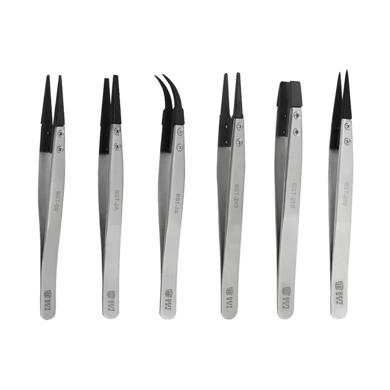6pcs To Chose Rubber Precision Pointed Straight Antistatic Stainless Steel Industrial Tweezers SMD Professional Repair Tool