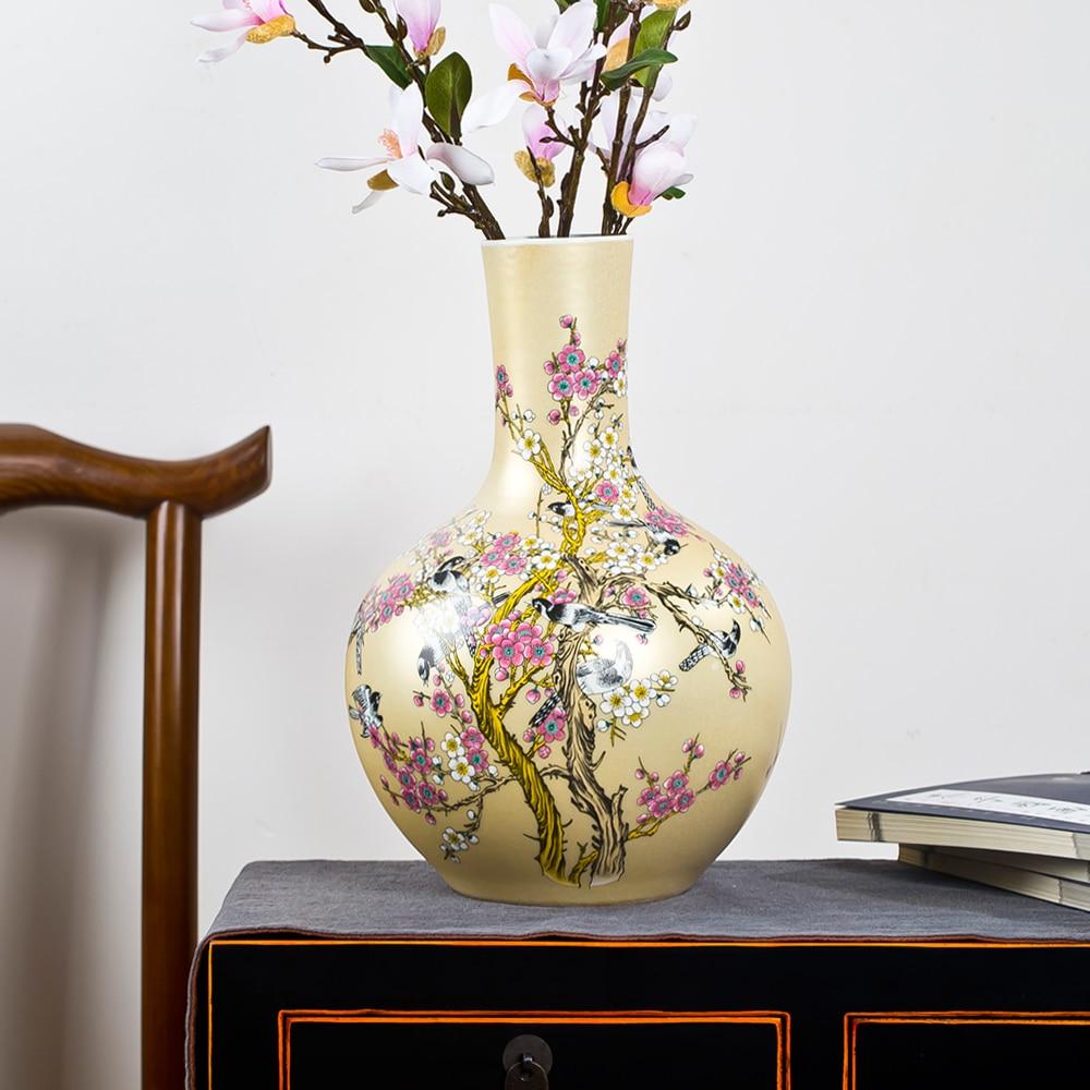 Jingdezhen keramische grote vaas nieuwe Chinese stijl gouden ekster - Huisdecoratie
