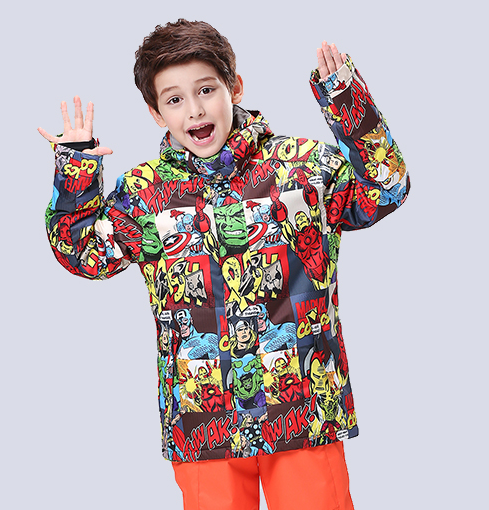 2016 vestes de ski pour enfants imprimées avec des motifs garçons snowboard hauts vestes de ski pour enfants anorak de ski manteau d'escalade