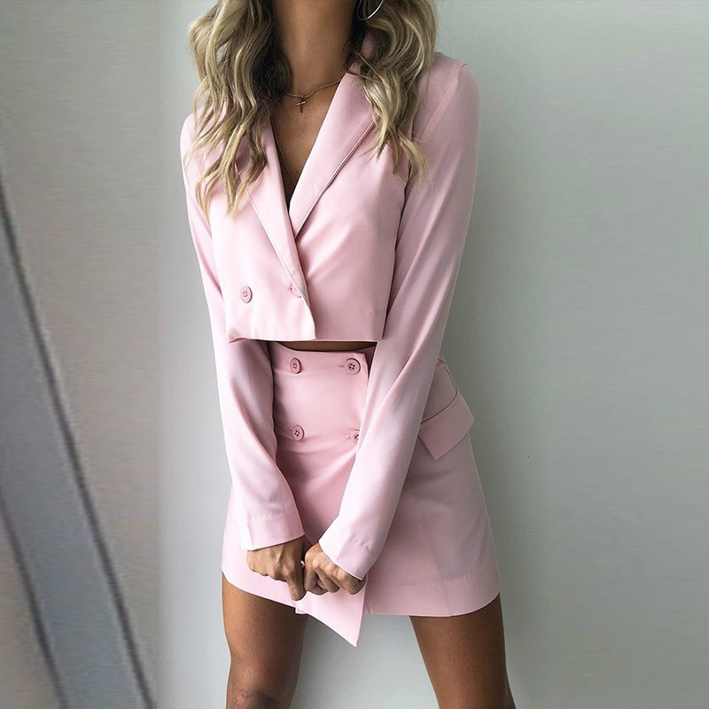 Causey Ladies Suit Women Suits Office Sets Casual Blazer And Skirts Set Formal Terno Feminino