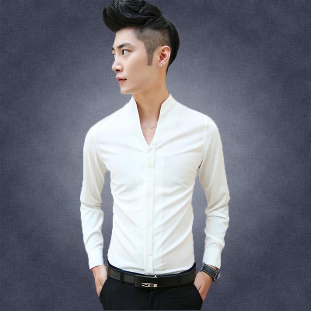 Camisas de los hombres 2017 nuevos hombres cultivan sólido business casual camisa de Moda camisa de manga larga Con Cuello En V vestido de noche