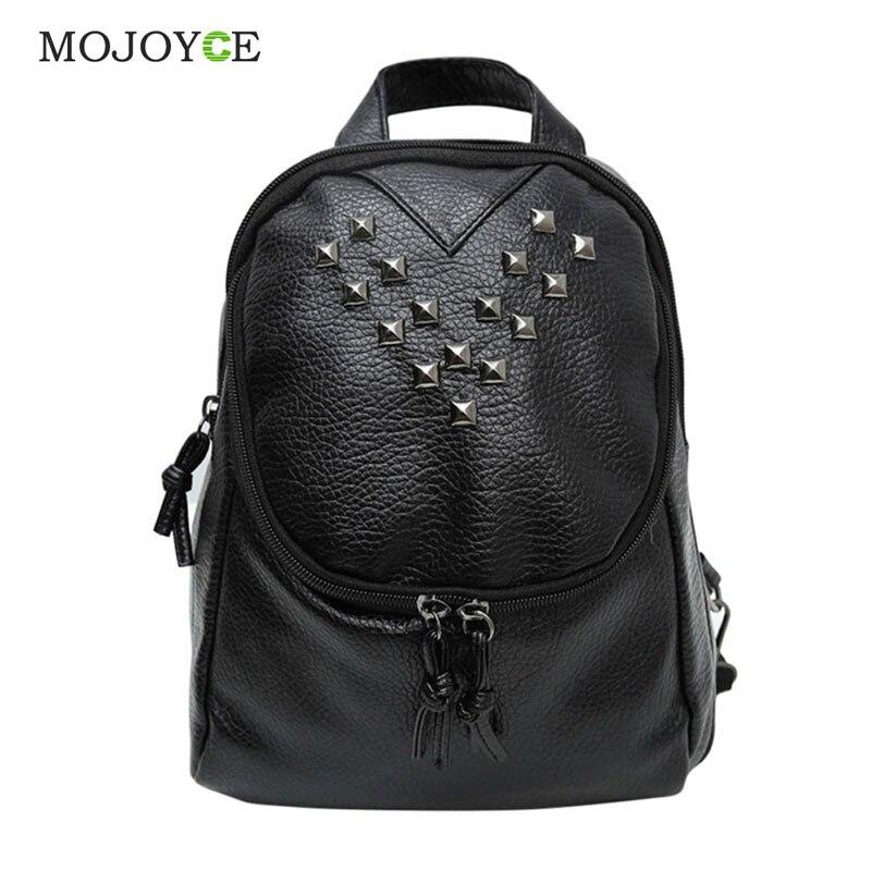 d2cae0225c2 Leather Backpack Women Preppy Style School Bags Casual Rivets Women  Rucksack Travel Satchel Bags Mochila Feminina