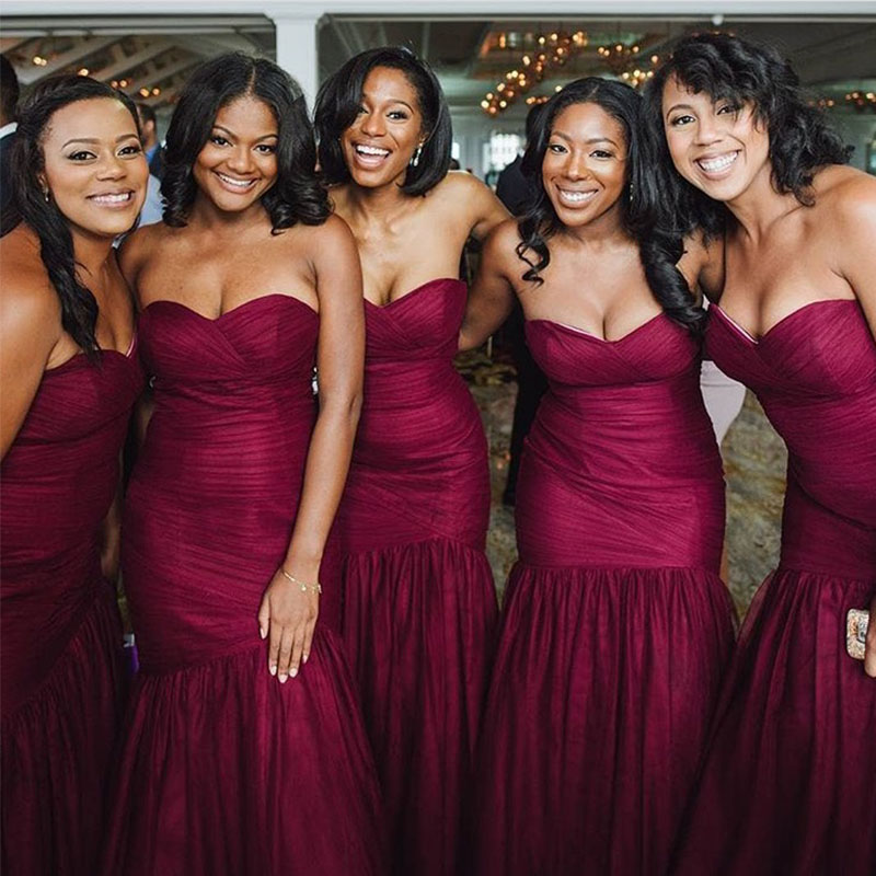 lamiabridal Sweetheart Mermaid   Bridesmaid     Dresses   Burgundy Pleats Tulle Robe De Soiree Full Length Vestido De Noiva Custom Made