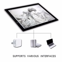 Portable Drawing Copy Board A3 LED Light Pad Box Drafting Graphics Tablet Pad Panel Pad Copy Board with Brightness Control