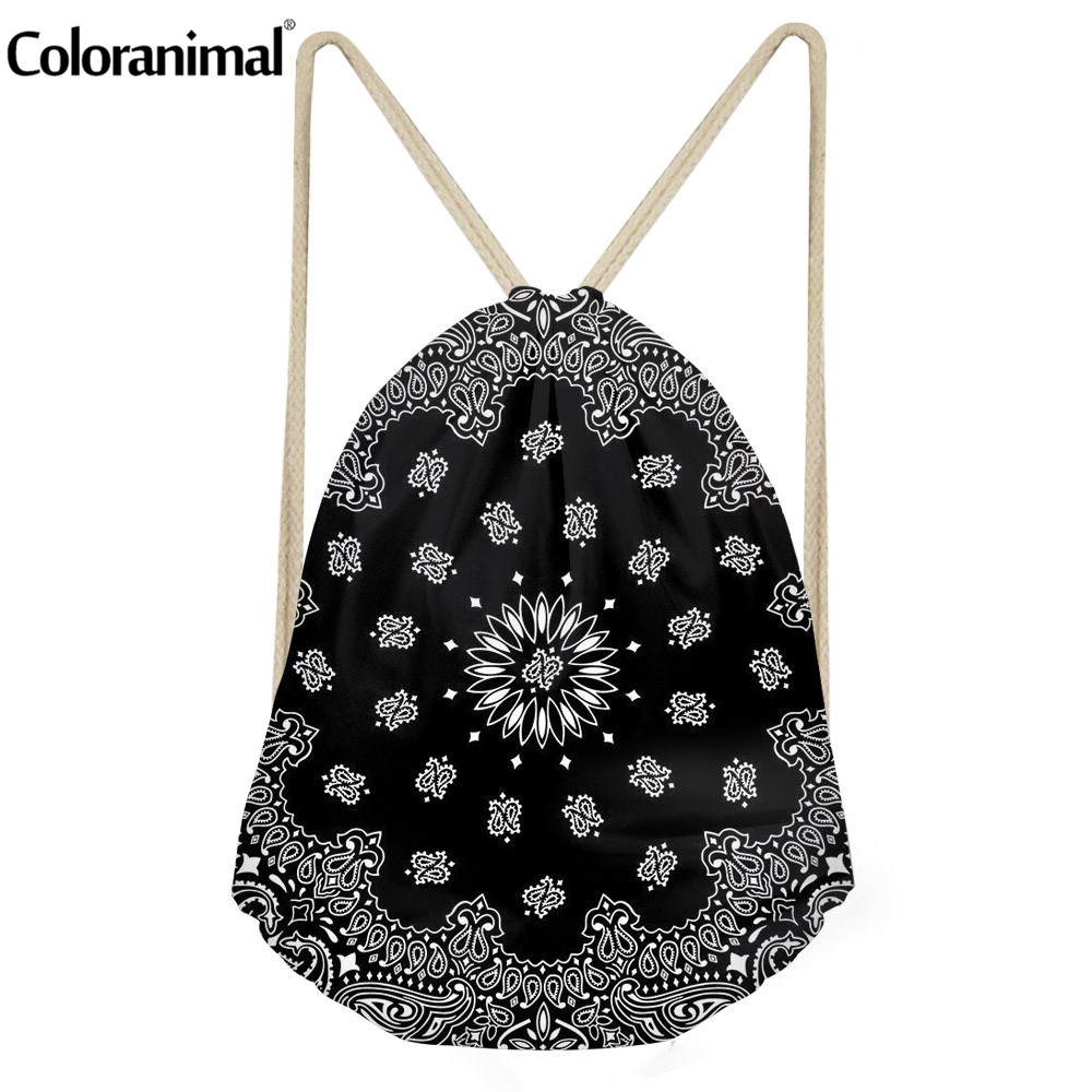 Coloranimal Retro 3D Western Paisley Print Women Drawstring Bag Female Storage Sack Bag Mandala Floral Teen Backpack Cinch Sack