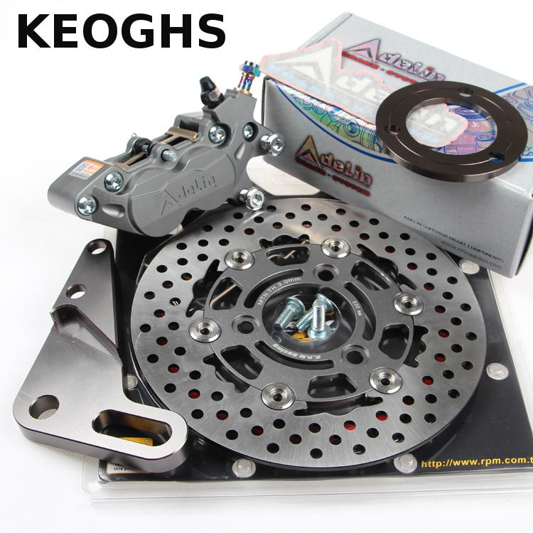 KEOGHS Motorcycle Rear Hydraulic Disc Brake Set For Yamaha Scooter Dirt Bike Modify 220mm 260mm Floating Disc With Bracket keoghs motorbike rear brake caliper bracket adapter for 220 260mm brake disc for yamaha scooter dirt bike modify