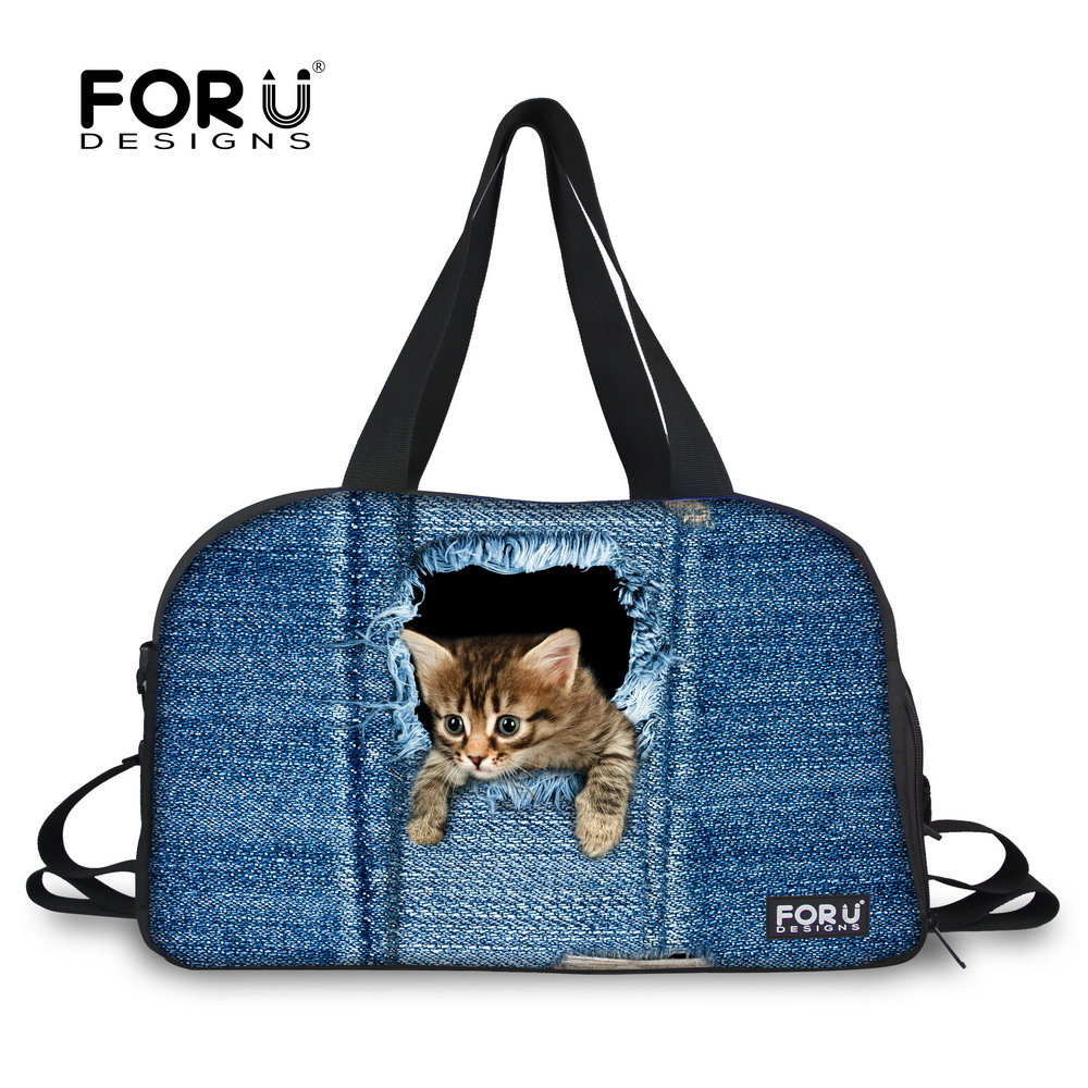 FORUDESIGNS Cute Denim Cat Dog Pattern Women Men Large Luggage Travel Bag Female Tote Travelling Duffle Bags Casual Weekend Bags