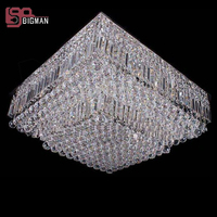 Hot Sales New Square Crystal Chandelier Foyer Light L60 W60 H30cm Modern Home Lighting