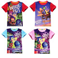 Retail 2015 New Children Clothes Inside Out Anger Joy Fear Disgust Sadness boys girls short sleeve t-shirt tees tops