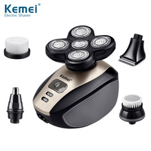 Kemei 5 In 1 Electric Shavers 5D Floating Heads Washable Beard Trimmer Razor Multifunction Rechargeable Razors Face Care Tools