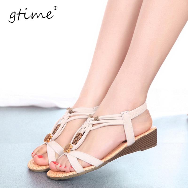 Gtime النساء الأحذية الصنادل الراحة الصنادل الصيفية زحافات 2017 الأزياء عالية الجودة الصنادل المسطحة المصارع صندل موهير # ZWS33