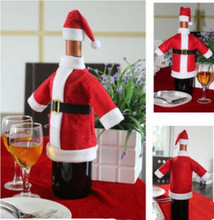 1pcs Christmas Decoration Red Wine Bottle Covers Clothes With Hats For Home Christmas Dinner Party Or Gift Free Shipping
