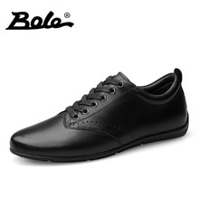 BOLE Handmade Genuine Leather Men Shoes Fashion Walking Durable Lace Up Shoes For Men Design Superstar Breathable Shoes Men Flat