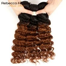 Rebecca Ombre Malaysian Deep Wave Bundles 1/3/4 Pcs Remy 2 Tone Color T1B/27# T1B/30# T1B/99J# 100% Human Hair Bundles
