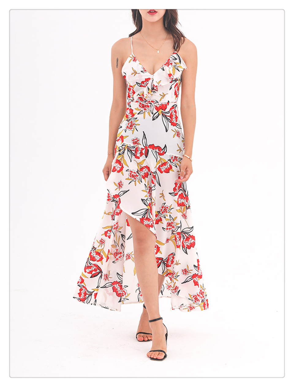 1f65c537f1 Women Sexy Floral Print Backless Dress Spaghetti Strap V Neck ...