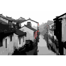 Picture On Wall Acrylic Chinese Ink Painting Ancient Town Drawing By Numbers Abstract DIY Coloring Number Canvas