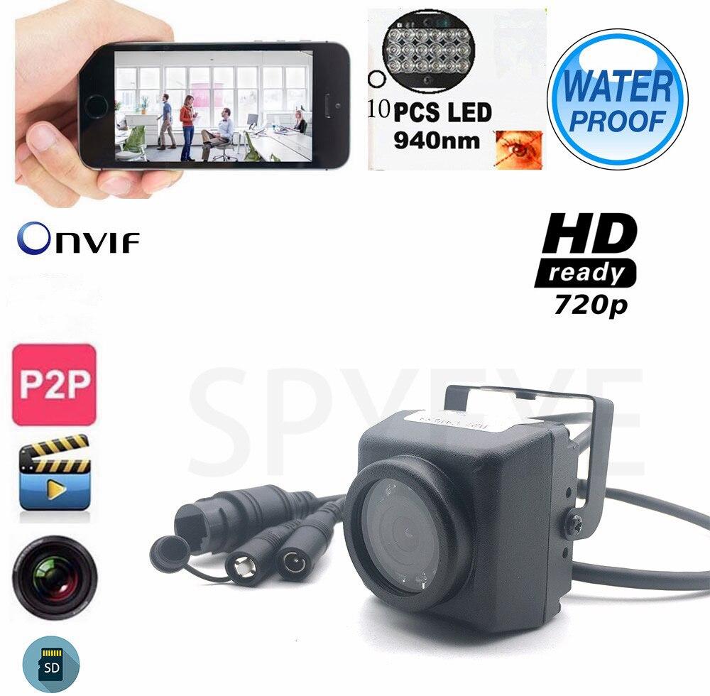 Camhi 720P Mini Waterproof IP66 Camera TF Card Slot 940nm IR