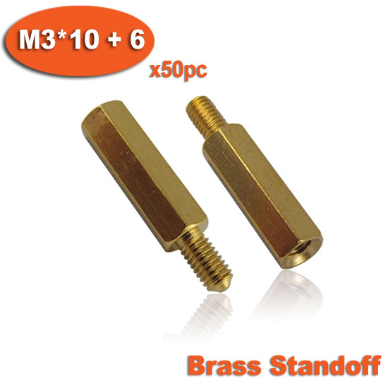 ZXHAO M3x10+6mm Male to Female Thread Brass Hex Standoff Pillar Spacer Hex