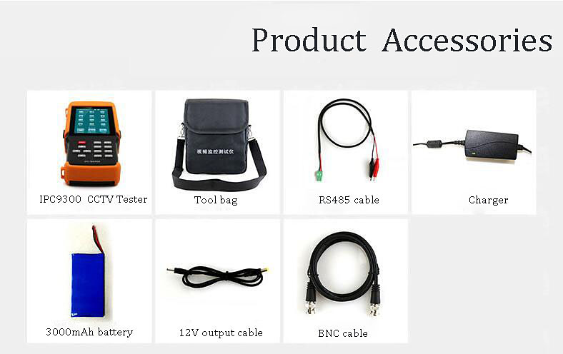 4.3 Inch H.265 4K IP CCTV Tester Monitor IP Analog CVBS Camera Tester WIFI PTZ ONVIF 12V2A output