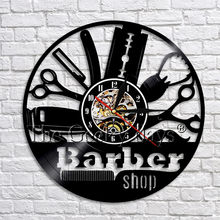 1Piece Barber Shop Tool Decor Art Wall Clock Barber Salon Haircut Vinyl Record Wall Clock Grooming Hairdresser Hairsty Clock(China)