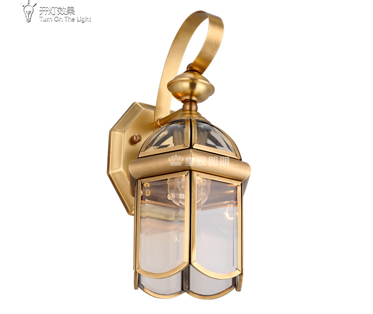 European style waterproof outdoor corridors courtyard balcony outdoor all copper wall lamp lighting цена