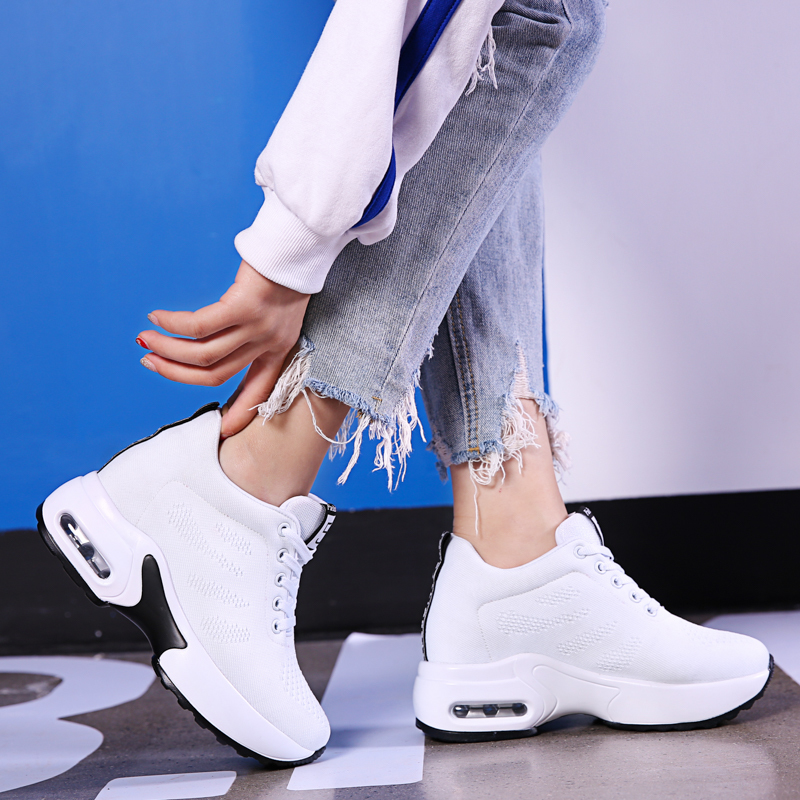 Hide Heel Fashion Sneakers Women Flying Knitting Casual Shoes Breathable Height Increasing Platform Sneakers White Shoes TT003