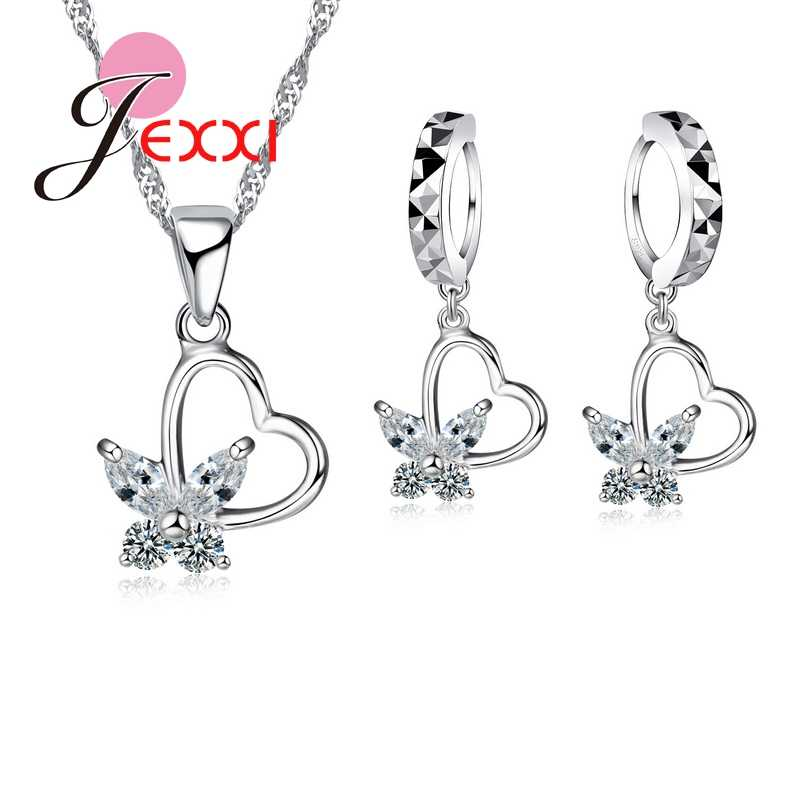 925 Sterling Silver Color Jewelry Set CZ Crystal Love Heart Pretty Butterfly Pendant Necklace & Earring Wedding Party Decoration