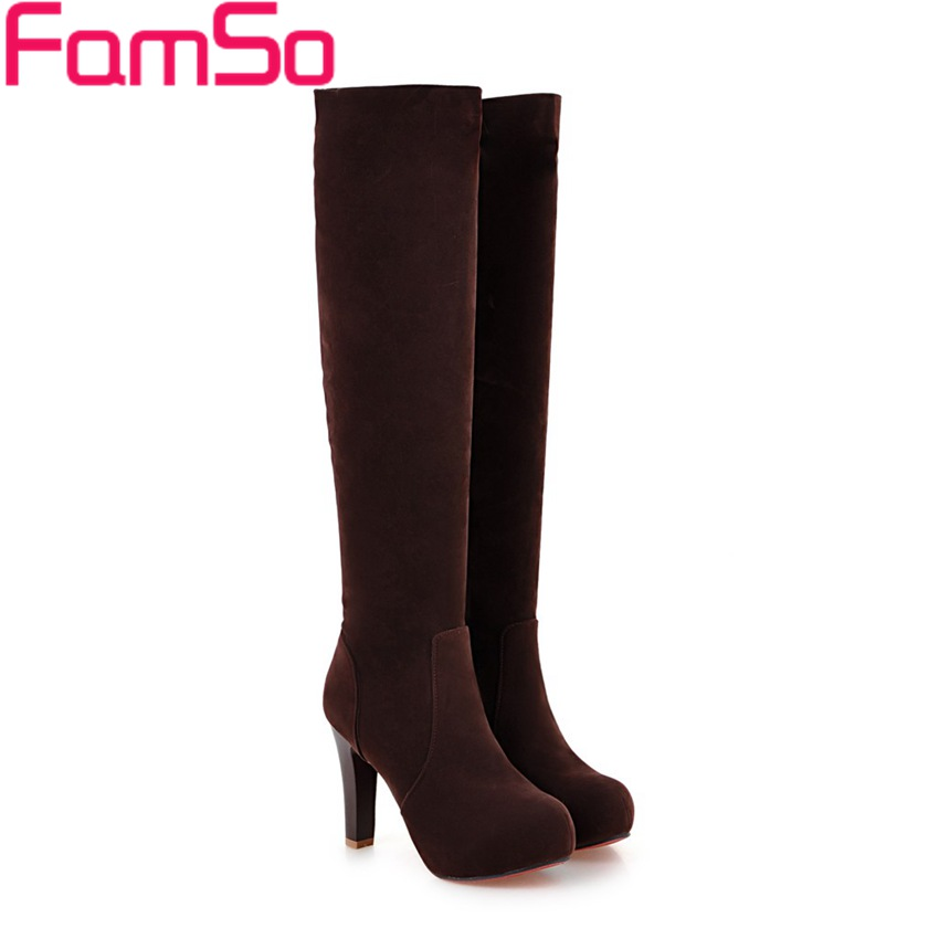 Plus Size 34-43 2017 New Fashion Women's Boots Black High Heels Motorcycle Boots Red brown Winter Ladies Knee High Boots SBT3975 brand new fashion black yellow women knee high cowboy motorcycle boots ladies shoes high heels a 16 zip plus big size 32 43 10