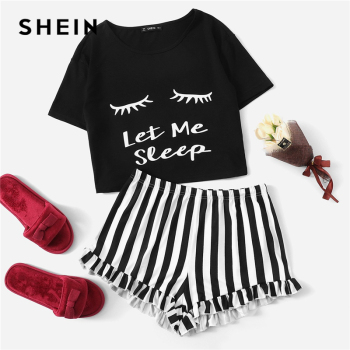 цена на SHEIN Black Graphic Tee Frilled Striped Shorts PJ Round Neck Short Sleeve Set 2019 Summer Women Patchwork Sleepwear
