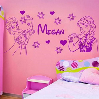 Custom-made Cartoon Figure Personalised Elsa And Ana Wall Decal With Name Vinyl Stickers