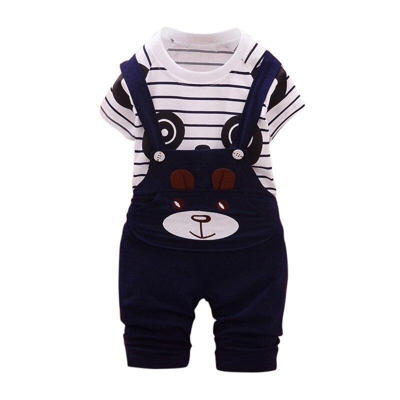 2Pcs Baby Boy Clothes Sets Cute Boys Cotton Cartoon Panda Striped T-shit+Strap Pants For Newborn Infant Girls Clothing Sets