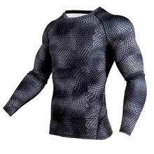 New Running Shirt Compression Tights Men Quick Dry Long Sleeves Sport MMA Rashgard Snake Fitness Soccer Jersey Gym Top