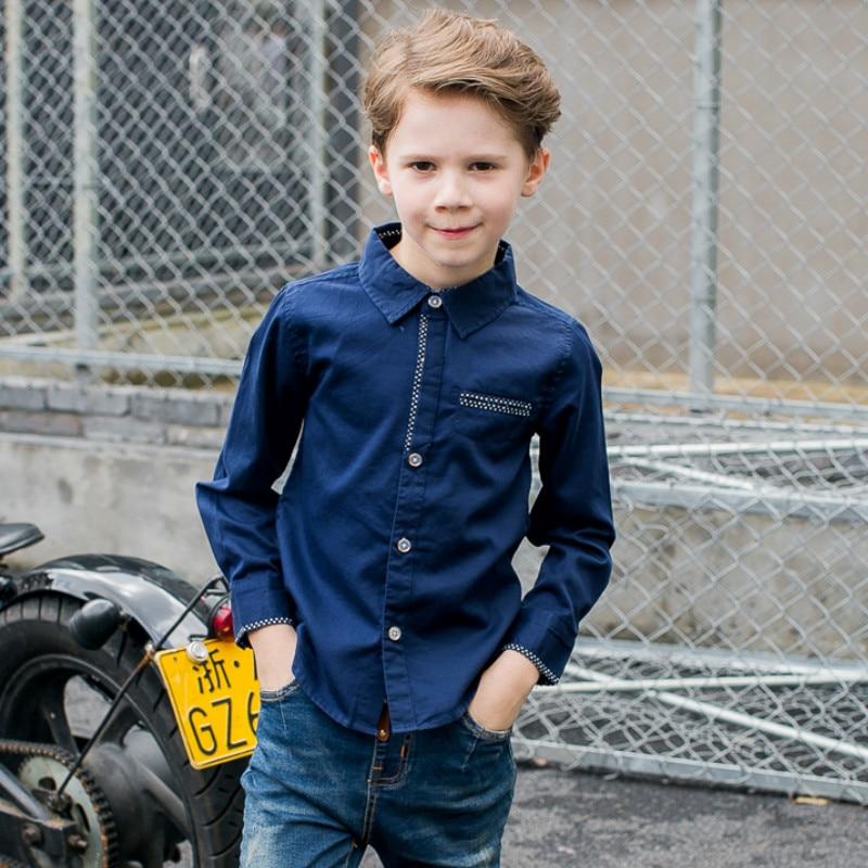 Children Clothing Baby Boys Dot Long-sleeve Brand Kid Blouse School Shirts for Boys Turn Down Collar Fashion Cotton Outwear