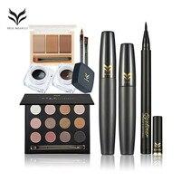 HUAMIANLI 7PCS Eye Makeup Kit Professional Cosmetics Set Waterproof Eyeliner Mascara Eyebrow Smoky Eyeshadow Set Eyes