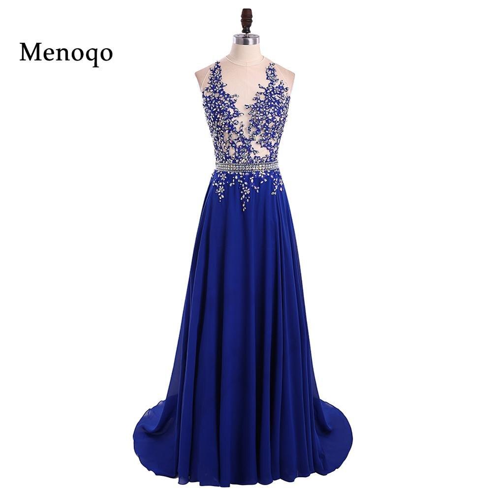28e348e7e01 1191 W robe de festa longo brillant perlé bleu Royal longues robes de bal  2018 Sexy dos nu une ligne longue robe de soirée de fête dans Robes de bal  de ...