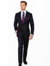 New Arriving Summer Style 100% wool classic business navy blue 2 pcs two button with Notch lapel latest coat pant designs