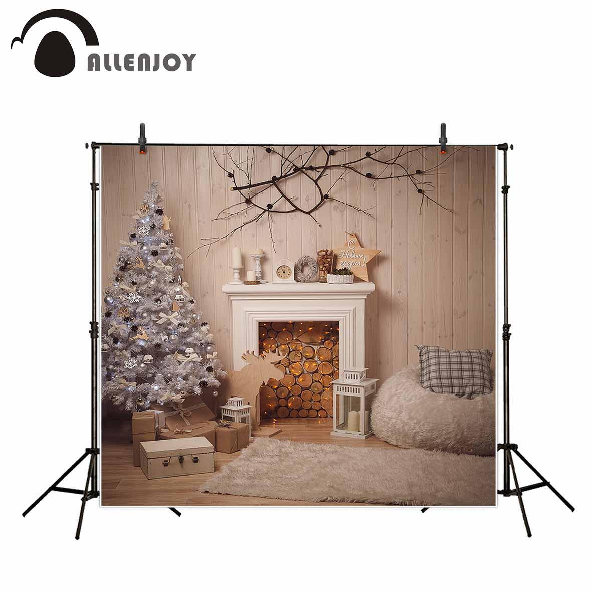 Allenjoy newborn photography background Wooden White Christmas Tree Fireplace Gift Child photo studio photobooth high quality