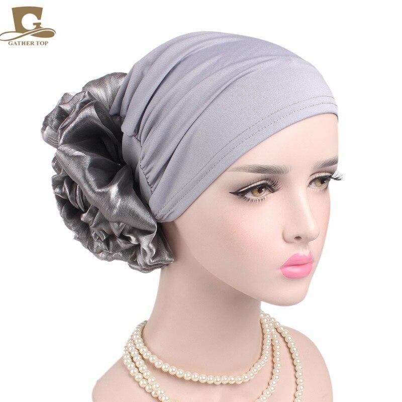 NEW women elegant king flower turban cap chemo beanie head wrap head scarf for hair loss