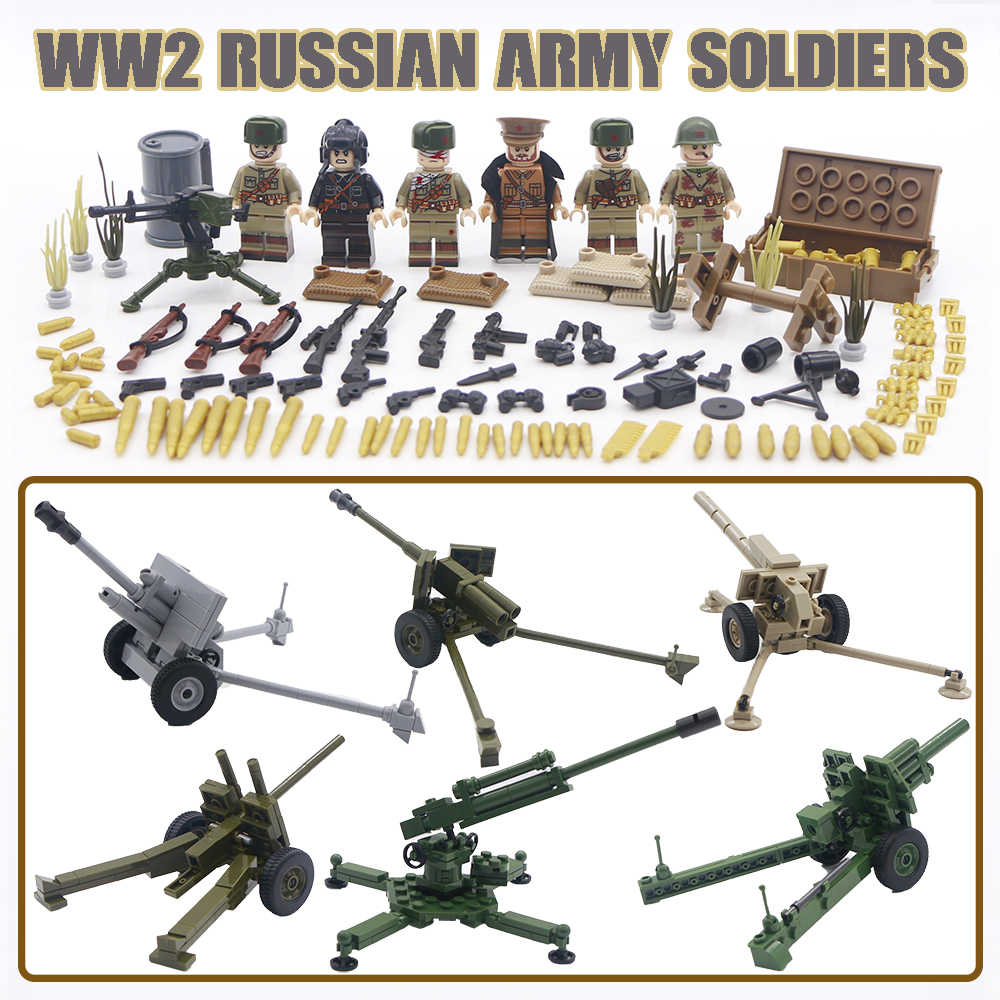 LegoINGlys Army WW2 Building Blocks Military Soviet Soldiers Figure Set Vehicle Tank Britsh Weapon Guns Bricks Toys For Children