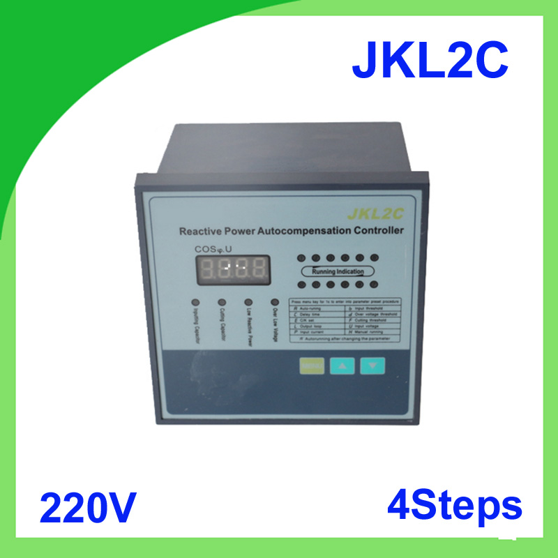 JKL2C with power supply 220v 4 steps Reactive power factor  automatic compensation controller 50/60HzJKL2C with power supply 220v 4 steps Reactive power factor  automatic compensation controller 50/60Hz