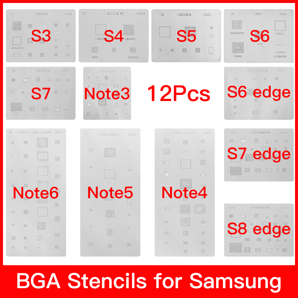 12pcs/lot IC Chip BGA Reballing Stencil Kits Set Solder Template For Samsung Galaxy S3 S4 S5 S6 S7 S8 NOTE3/4/5/6 High Quality