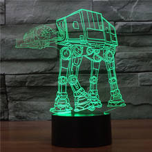 Creative 3D illusion Lamp Star Wars troop dog LED Night Light Acrylic Colorful Robot Atmosphere Lamp Novelty Lighting IY803337