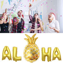 Aloha Gold Foil Balloons Hawaii Party Banner Tropical Beach Party Decor Dropshipping Mar29(China)