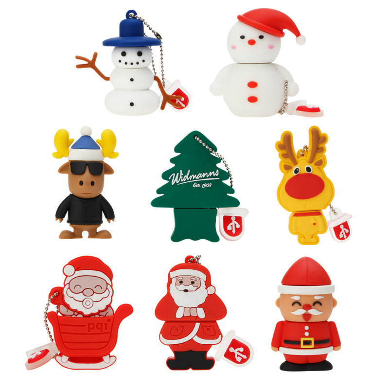 Usb Flash Drive 32GB 64GB Pen Drive Cartoon Santa Claus Milu Pendrive 4GB 8GB 16GB 128GB USB Stick Best Christmas Gift U Disk-in USB Flash Drives from Computer & Office