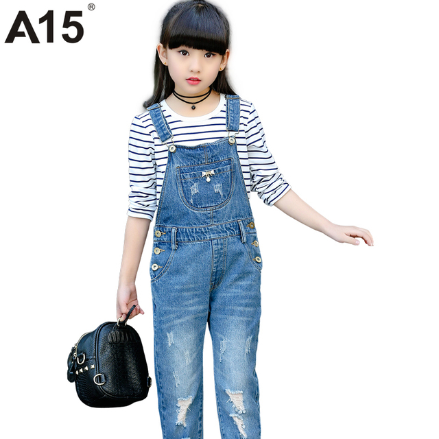 803c677eeba9 A15 Spring Hole Ripped Jeans for Girl Kids Clothing Denim Jumpsuit ...