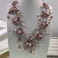 2018 Sell like Hot Purple Cat Eye Stone Pink Pearl Flower Choker Necklace Necklace for Women