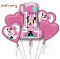10pcs 18inch Happy Birthday Decorations Balloons Mickey Minnie Mouse Star Number Helium Foil Balloons Baby 1th