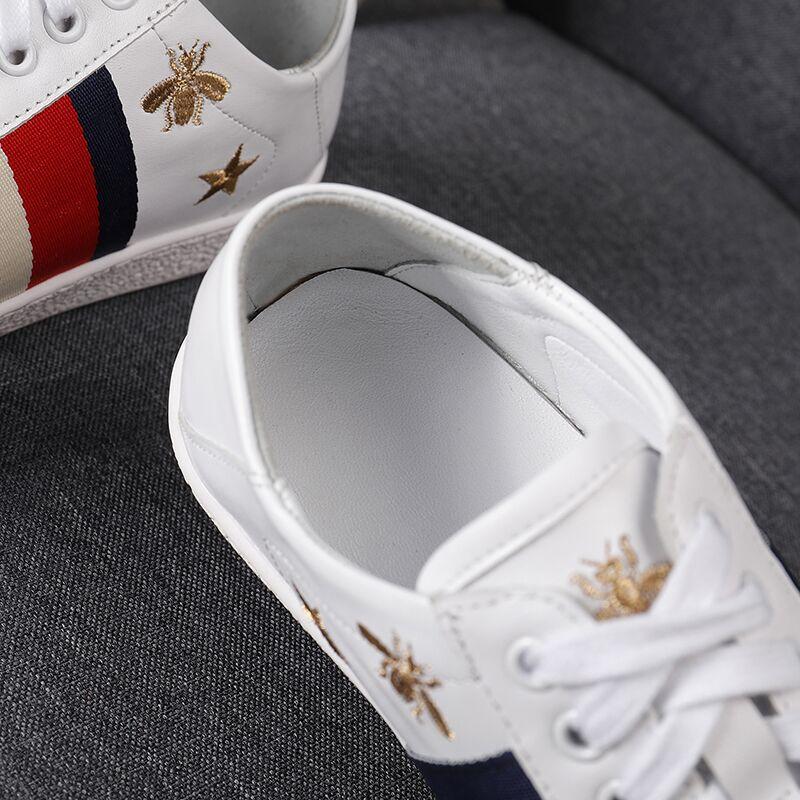 De Confortable Véritable White Cuir Marque Abeille Modèle Femmes En Designer Bee Nouveau Luxe Dame Chaussures Mode Sneaker Broder Appartements Casual XxqWwSwa8H