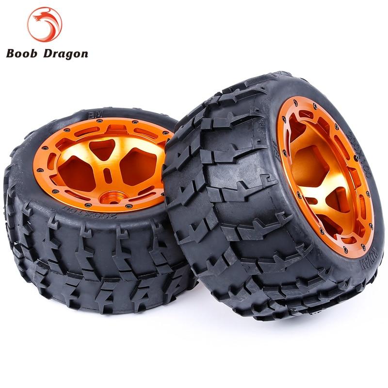 Monster Truck CNC Metal Wheels Tires Set For 1/5 FG Rovan BM RC Car