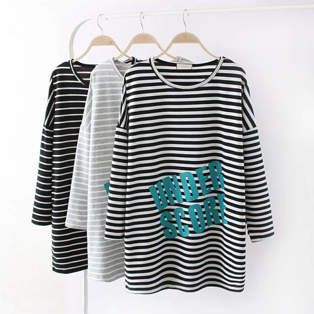2016 new women letter striped print full sleeves cotton for Full size t shirt printing